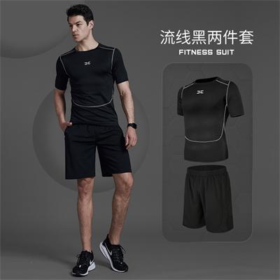 X SHADOW 多功能男士健身服速干透气跑步健身两件套 流线黑短袖+黑短裤