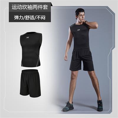 X SHADOW 多功能男士健身服速干透气跑步健身两件套 运动坎袖+黑短裤