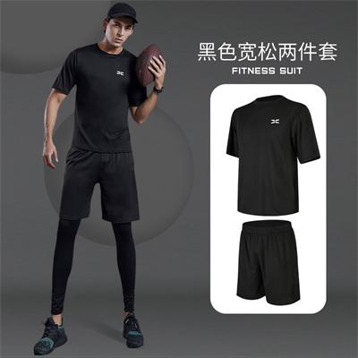X SHADOW 多功能男士健身服速干透气跑步健身两件套 黑色宽松两件套