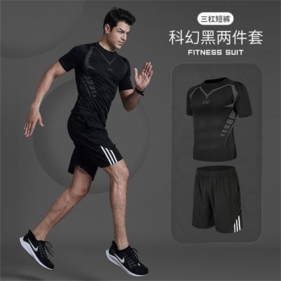 X SHADOW 多功能男士健身服速干透气跑步健身两件套 科幻黑短袖+三杠短裤