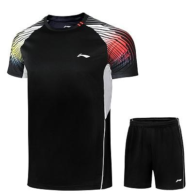 李宁羽毛球服套装 AATR045 男款圆领比赛套装 黑色