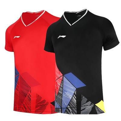李宁羽毛球服 AAYR375 男款V领比赛上衣 火焰红/黑色 二色可选 几何印花加网孔设计 更透气更舒适