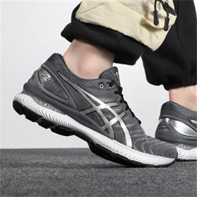 ASICS亚瑟士 夏季新款GEL-NIMBUS 22耐磨慢跑鞋马拉松透气缓震跑步鞋 银灰色1011A779-020