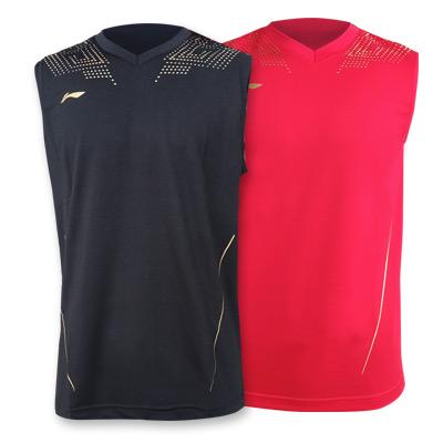 李宁 无袖运动背心比赛服AVSQ145 男款羽毛球服乒乓球服吸湿排汗速干 红黑两色奥运系列