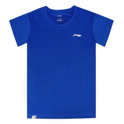 李宁 女士短袖文化衫 AHSR792-3 晶蓝色短袖T恤运动上衣 速干透气面料 舒适清凉 吸汗透气