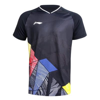 李宁国际大赛羽毛球服 AAYR373-3  黑色 男款小圆领短袖上衣T恤 一体织法 高弹速干面料 清爽透气 柔软亲肤 性价比高