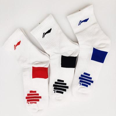 李宁专业羽毛球袜 AWSR163  男士运动中袜 三色可选 吸汗舒适保护性强