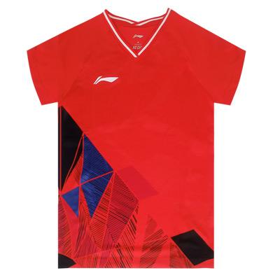 李宁女子国际大赛羽毛球服 AAYR374-2  焰红色 V领短袖T恤 运动上衣 一体织法 高弹速干面料 透气舒适 柔软舒适 简单印花设计 时尚百搭