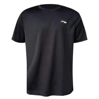 李宁 男士短袖文化衫 AHSR791-5 黑色 圆领 宽松型 2021夏季新品 基础速干面料 吸汗 透气 凉爽