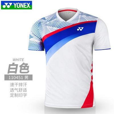 尤尼克斯YONEX比赛上衣 110451BCR 男款V领运动短袖上衣 高弹速干面料 轻薄透气 吸汗舒适