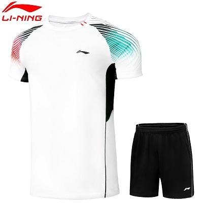 李宁羽毛球服套装 AATR045-2 男款圆领比赛运动套装 白色 速干面料 柔软舒适 透气性强