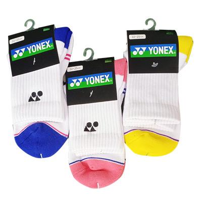 尤尼克斯YONEX羽毛球袜 245141BCR 女款运动袜长袜 白蓝/白黄/白粉 三色可选