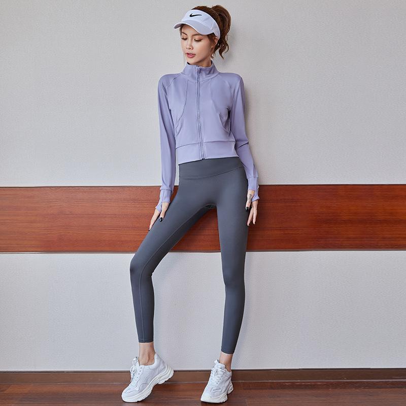 佑游 瑜伽服套装女显瘦时尚户外跑步健身服 秋冬款(紫色上衣+灰色裤)