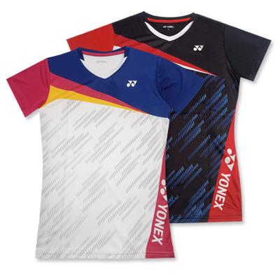 尤尼克斯YONEX羽毛球服 210381BCR 女士小圆领运动上衣短袖T恤 速干面料 舒适透气 吸汗舒适 黑色印花 简约百搭