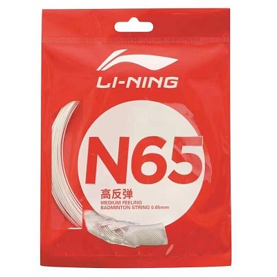 李宁N65号线 N65羽毛球线 高反弹性羽线 0.65mm羽线径 具有良好的反弹性 击球声清脆 出球速度更快)
