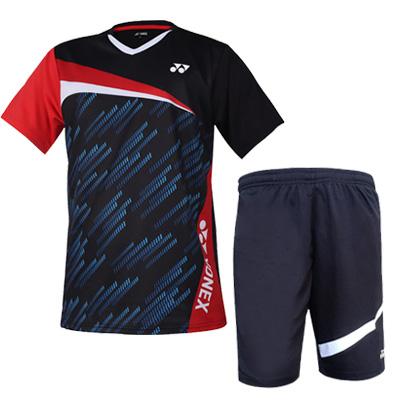 YONEX尤尼克斯羽毛球套装 110381黑+120201黑 男士羽毛球比赛训练套装 速干透气 干爽舒适