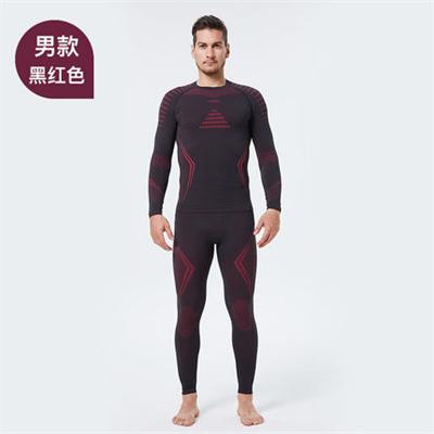 UTO悠途能系列助能款男士功能内衣套装2.0户外登山吸湿排汗快干保暖套装 黑红色
