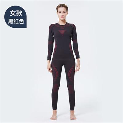 UTO悠途能系列助能款女士功能内衣套装2.0户外登山吸湿排汗快干保暖套装 黑红色