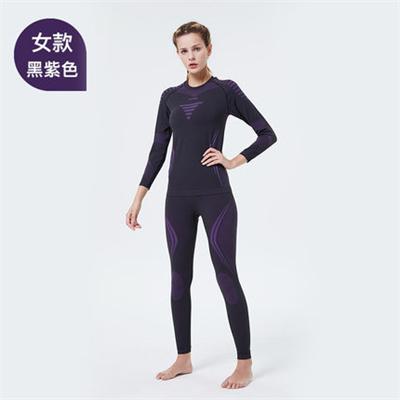 UTO悠途能系列助能款女士功能内衣套装2.0户外登山吸湿排汗快干保暖套装 黑紫色