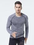UTO悠途能系列男士效能运动长袖吸湿透气运动服排汗透气打底衫 黑灰色