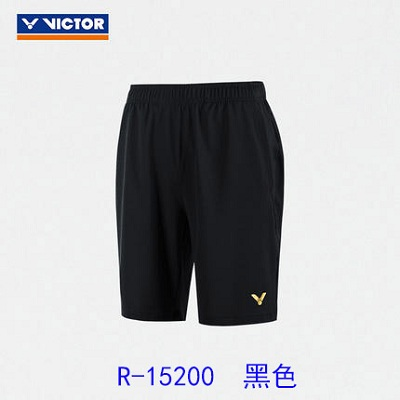 VICTOR胜利威克多羽毛球短裤 R-15200 黑色 男款 大赛服系列针织短裤 面料柔软舒适 透气吸汗 羽毛球运动短裤