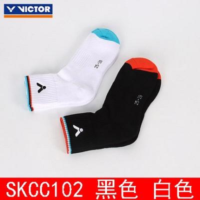 VICTOR胜利羽毛球袜 SKCC102 黑白两色 羽毛球加厚中筒袜 吸汗透气 包裹感好 戴资颖同款短袜