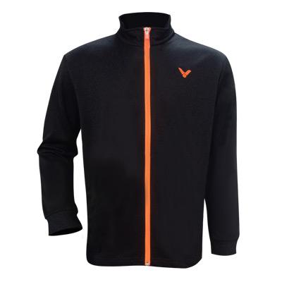胜利VICTOR 中性款胜利长袖外套上衣运动夹克卫衣开衫羽毛球长袖运动服 男女运动外套J-75609 O 黑橙
