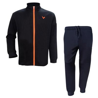 VICTOR胜利羽毛球服套装 羽毛球运动套装 秋冬长裤外套 男女运动套装 J75609+P80809 黑色
